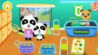 Baby Panda's Supermarket -Wednesday's shopping | Best grocery shopping game for kids| play and learn