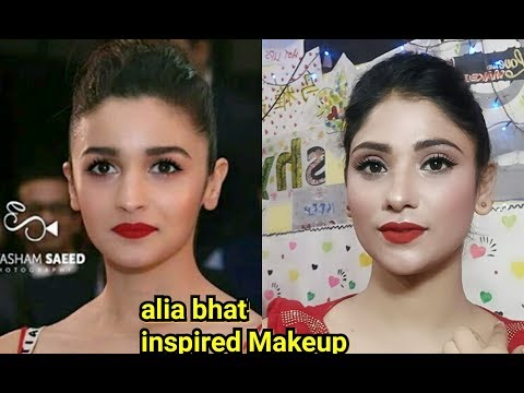 alia bhat inspired makeup | simple eyes with bold red lips | shy styles