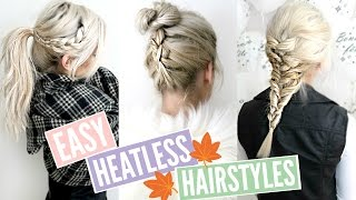 3 QUICK & EASY HEATLESS Hairstyles for FALL! | Sylvia Gani