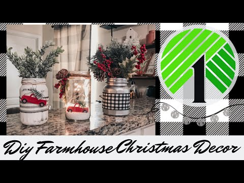 Dollar Tree Christmas DIY 2019 | Christmas Farmhouse Home Decor | Glass Jars