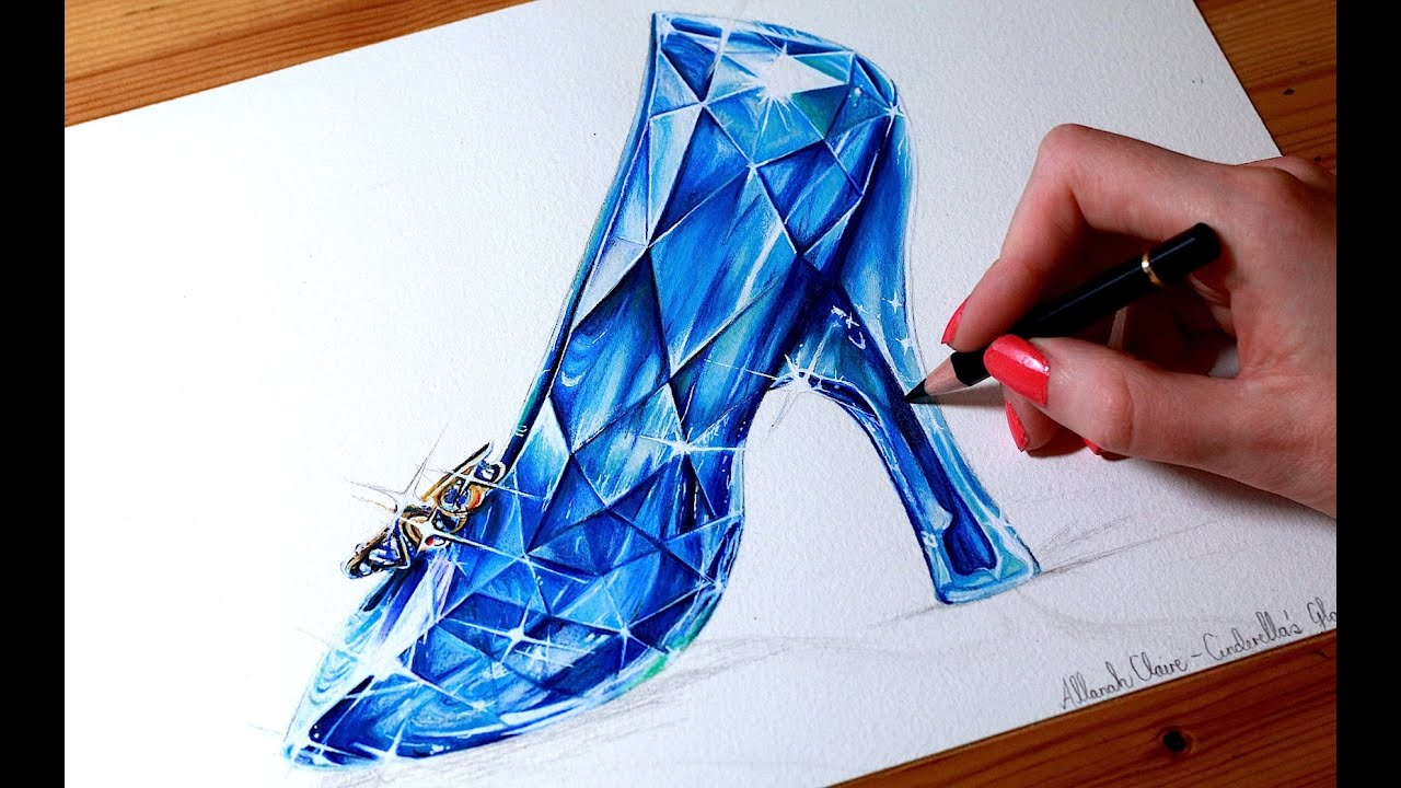 6d7baac135a791 CINDERELLA Drawing the GLASS SLIPPER - YouTube