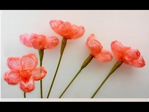 Making a plastic rope flower 1 / ทำดอกไม้จากเชือกฟาง 1