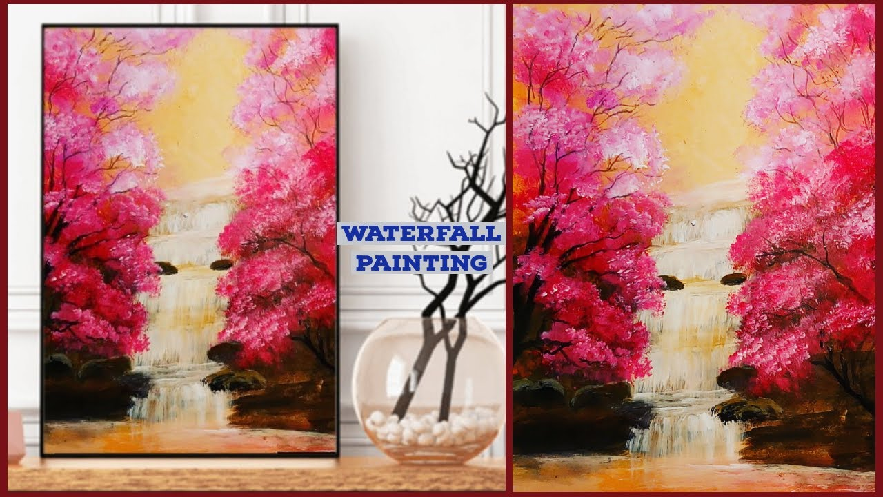 `Step By Step Waterfall Landscape Painting for Beginners`\\Acrylic Painting ideas#135~