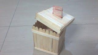 DIY: How to make Money Bank / Piggy bank using Ice cream sticks / popsicle sticks