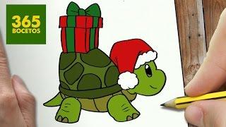 Como Dibujar Un Tortuga Para Navidad Paso A Paso Dibujos Kawaii