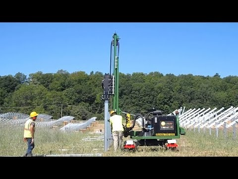Doyle Self Propelled Tracked Post Driver on Solar Farm in Illinois USA Rambo TPD 500