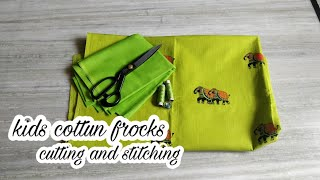 Summer cotton frock for kids సింపుల్ గా కుట్టండి|cutting and stitching for beginners|#frocks#fashion