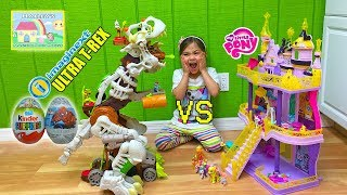 Biggest Dinosaur Toy Ever Ultra T-Rex vs My Little Pony Toys and Castle