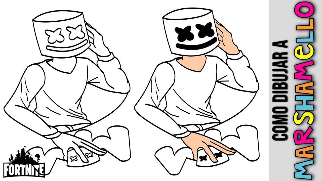 Como Dibujar A Marshmello Dj De Fortnite Drawing Marshmello Dj From Fortnite Dibujos Faciles