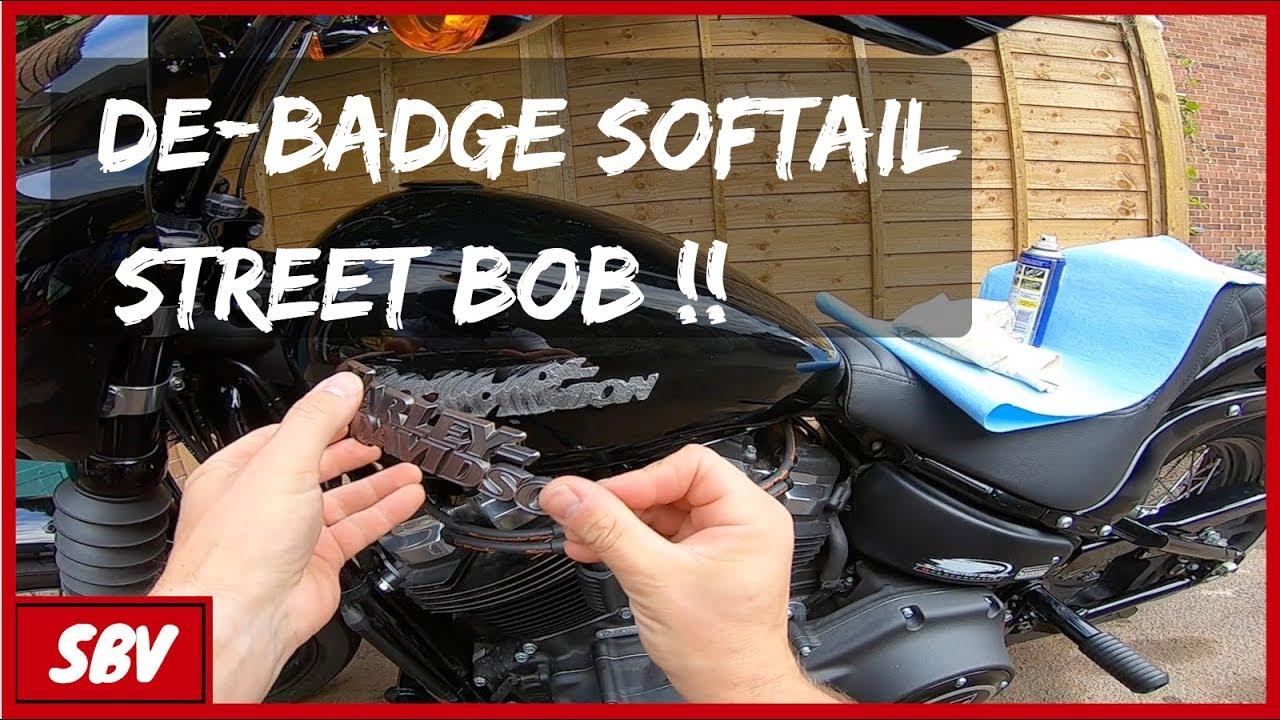 Removing Harley Davidson Decal Badge Softail Street Bob Fxbb