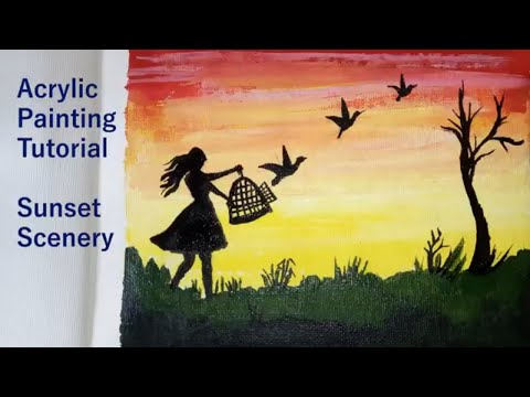Independence Day Painting | Sunset Scenery Acrylic Painting For Beginners