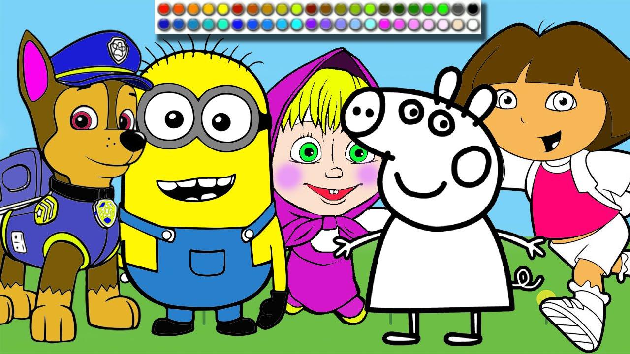 Minions Masha Paw Patrol and Peppa Pig Coloring Page  Lets