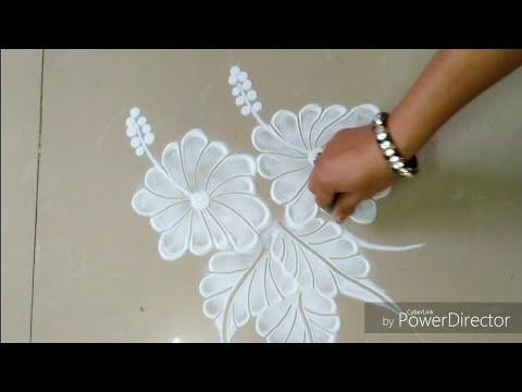 Fast rapid and time saving beautiful  Hibiscus  flowers  rangoli design  by Jyoti Raut rangoli