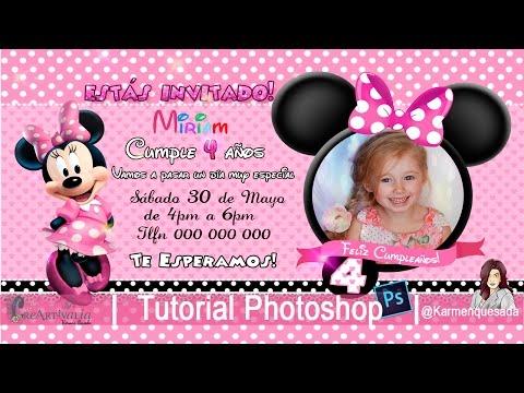 Invitación De Cumpleaños Minnie Tutorial Photoshop Curso