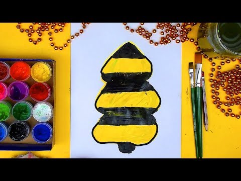 Как нарисовать Ёлку как Билайн рисуем красками на Новый год