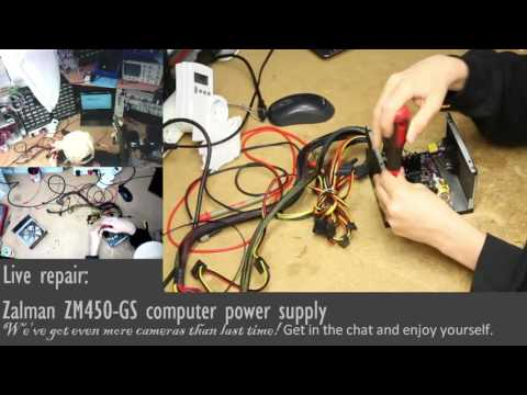 Live recording: Zalman ZM450-GS PSU repair (exploded PFC) - UGLY 450V capacitor replacement!