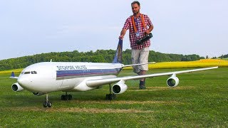 HUGE RC AIRLINER AIRBUS A340 SINGAPORE AIRLINES IN FLIGHT DEMO*RC AIRPLANE AIRBUS