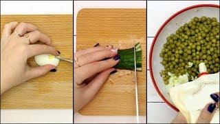 Салат из консервированной сайры с зеленым горошком