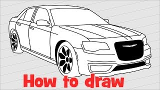 How to draw a car Chrysler 300 S 2017