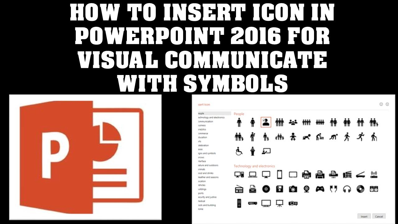 HOW TO INSERT ICON IN POWERPOINT 2016 TO VISUAL COMMUNICATE WITH SYMBOLS