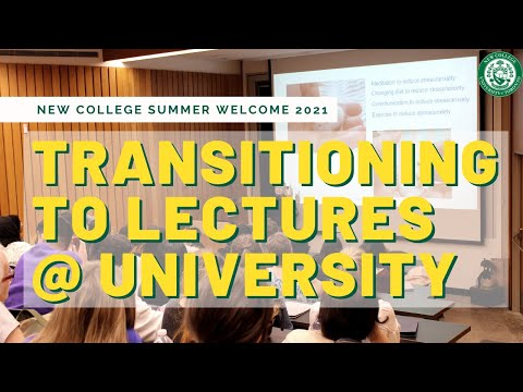 Transitioning to Lectures at University -- Summer Welcome 2021