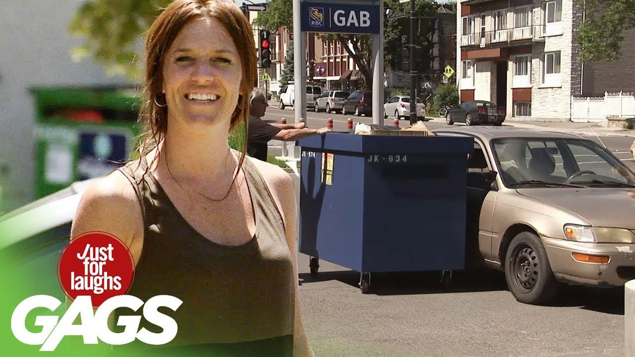 Man BREAKS Car with Garbage Bin