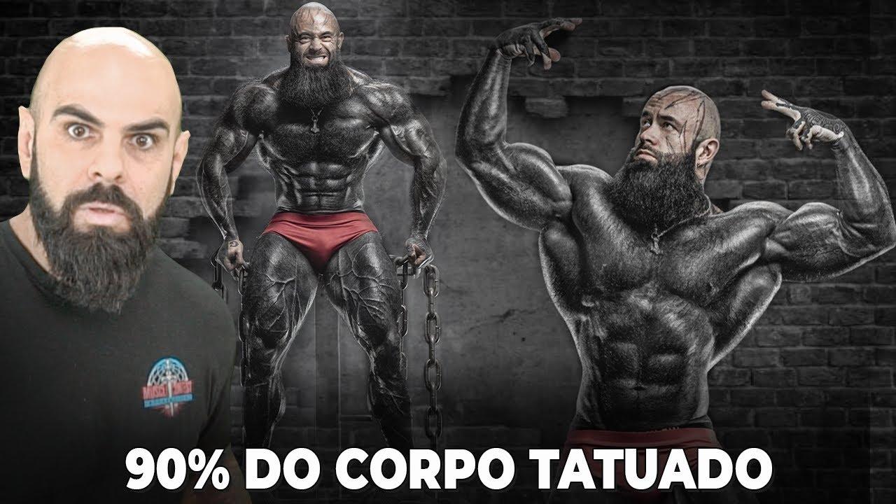 REAGINDO AO BODYBUILDER MAIS TATUADO DO MUNDO   98% COBERTO DE PRETO