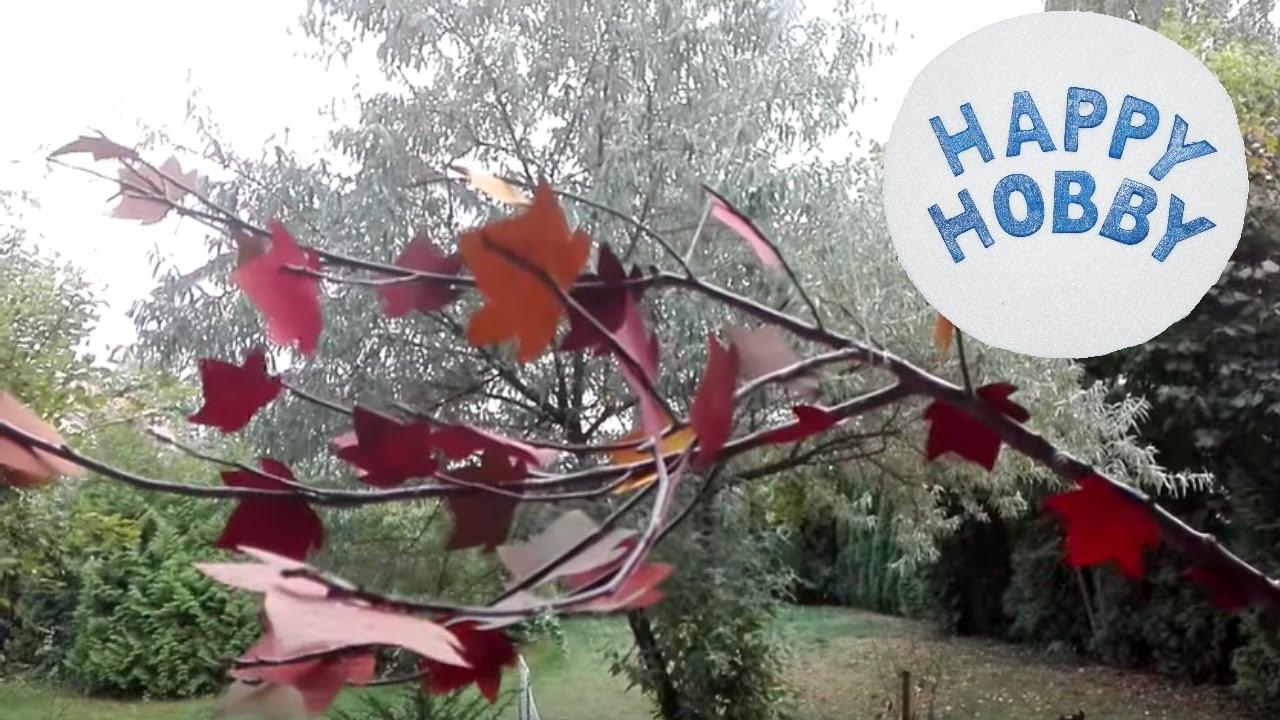 Herbstbl tter basteln aus tapete und zweig youtube - Fensterdeko zweig ...