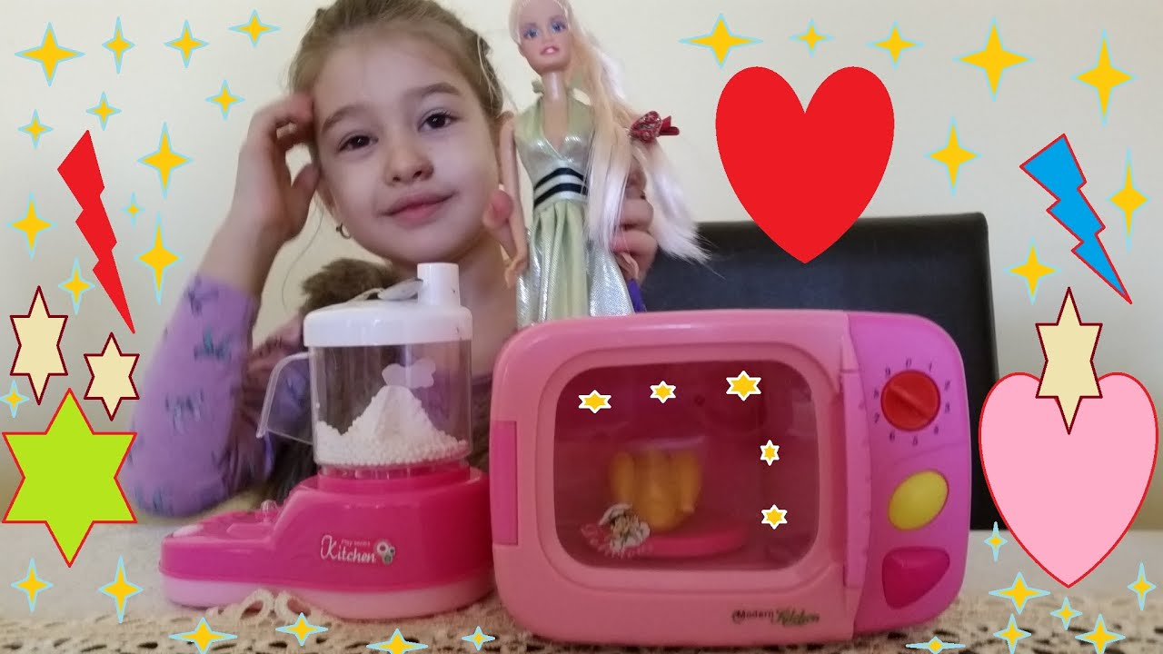 Kitchen playset for children Girl cooking for cute barbie