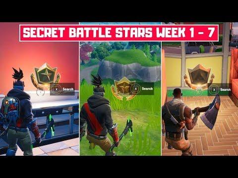 All Season 10 Secret Battle Stars Locations (Week 1 - Week 7)! - Fortnite Season X
