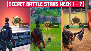 All Season 10 Secret Battle Stars Locations (Week 1 - Week 7)! - Fortnite Season X