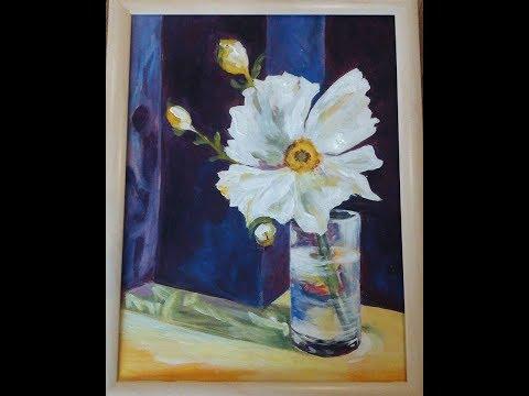 Hogyan fess akrillal üvegvázát virággal? Magyar!