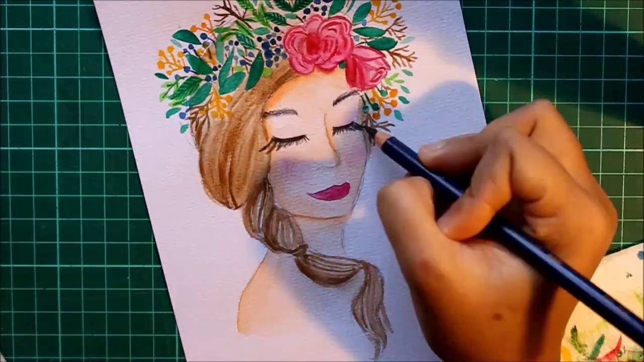 Let S Draw Something Girl Flower Crown Time Lapsed Watercolor Illustration Paper Bound Love Youtube