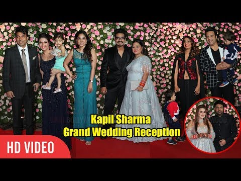 Bharti Singh, Raju Srivastav, Johnny Lever, Krishna Abhishek at Kapil Sharma Grand Wedding Reception