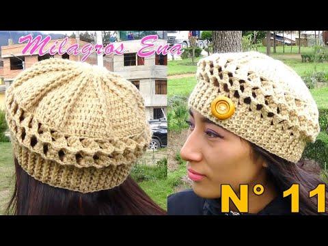 Boina a Crochet en Punto Panal de Abeja o nido de Abeja paso a paso en  diferentes tallas - Смотреть видео онлайн afe3edc00d8
