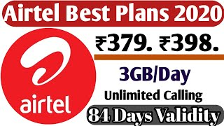 #Airtel Prepaid Recharge Plans & Offers List 2020 | Airtel New Best Plans Unlimited Calling &4G Data