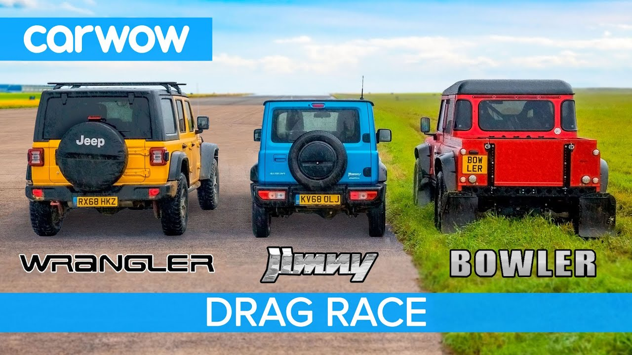 Suzuki Jimny vs Jeep Wrangler vs Bowler Bulldog (OFF-ROAD!) - DRAG RACE, ROLLING RACE & BRAKE TEST