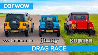 Suzuki Jimny vs Jeep Wrangler vs Bowler (Off-Road) - DRAG RACE, ROLLING RACE & BRAKE TEST