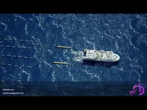 Technical animation: Principle of underwater seismic survey