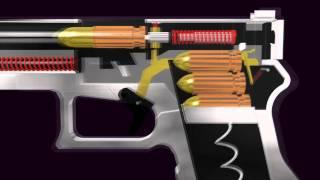 3D-Glock Halbautomatische Pistole (Funktion Animation)