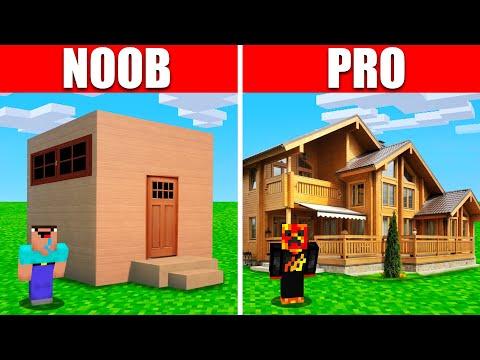 Noob Vs. Pro Realistic Minecraft House Build Battle! (Preston)