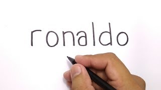 WOW, how to turn words RONALDO into CARTOON for KIDS , AMAZING ART / DRAWING RONALDO CR7
