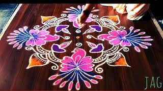 Easy cute parrot rangoli design with 9 dots made easy to draw for ugadi festival