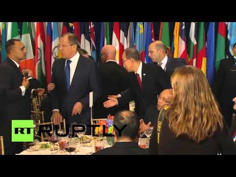UN: Putin, Obama and Ban Ki-moon relax at lunch after addressing UNGA