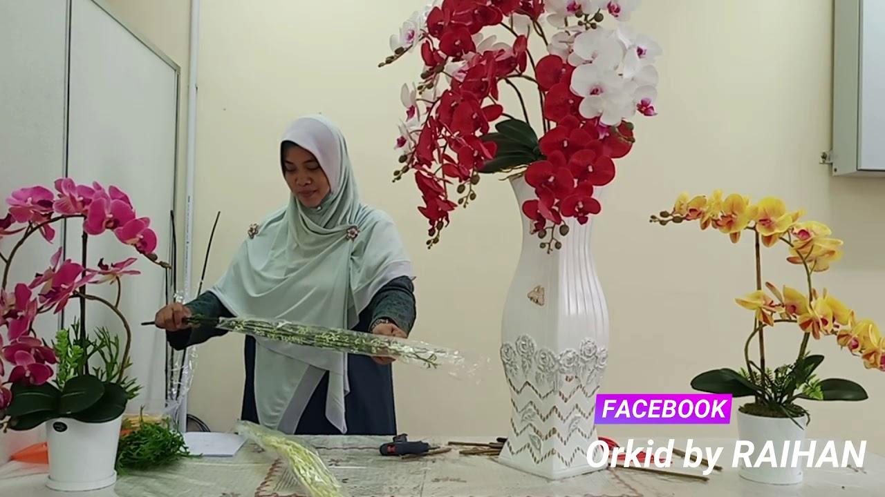 Gubahan Orkid Pasu Besar Orchid Deco Komposisi Anggrek Jambangan Kasih Bahagian 5 Part 5 Youtube