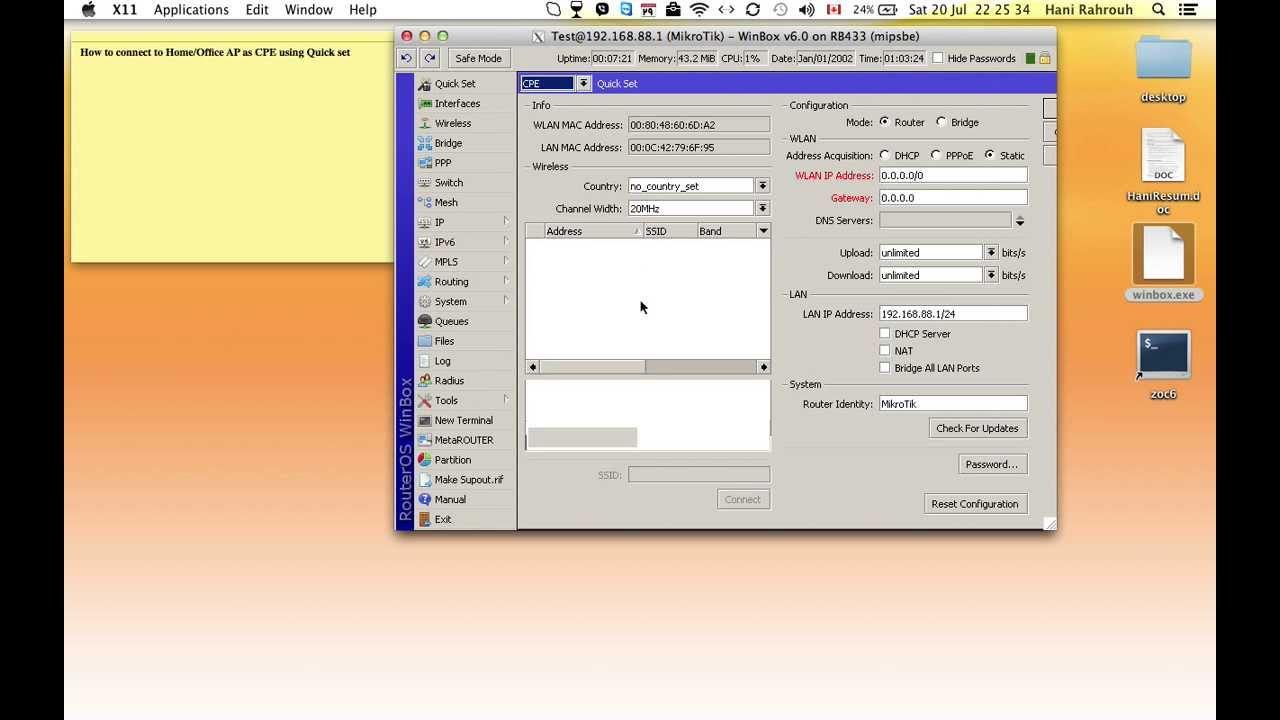 Quick set configuration as CPE