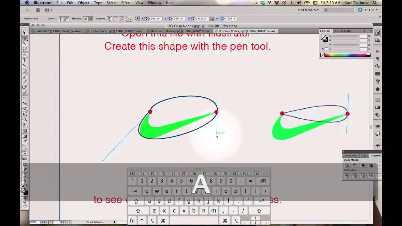 Drawing Lines With The Pen Tool : How to make the nike swoosh with illustrator pen tool