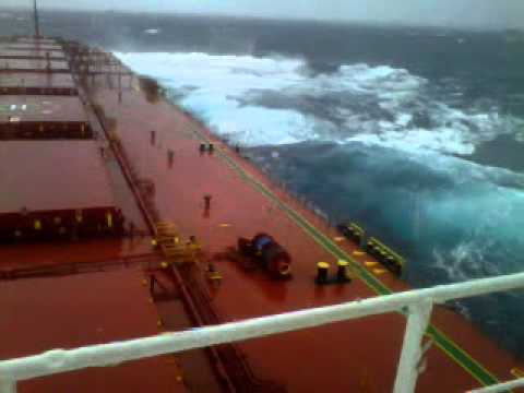 Life At Sea - Huge Swell Meets A Bulk Carrier
