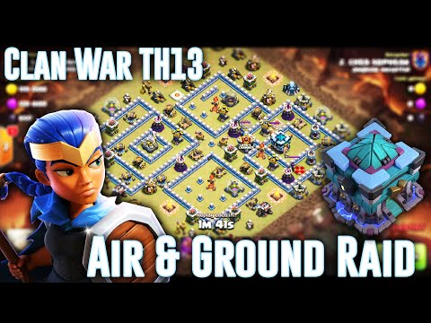 OMG! BEST CLAN WAR ATTACK TH13 - AIR & GROUNDS SMASH 3-STAR TH13 IN WAR ( Clash Of Clans )