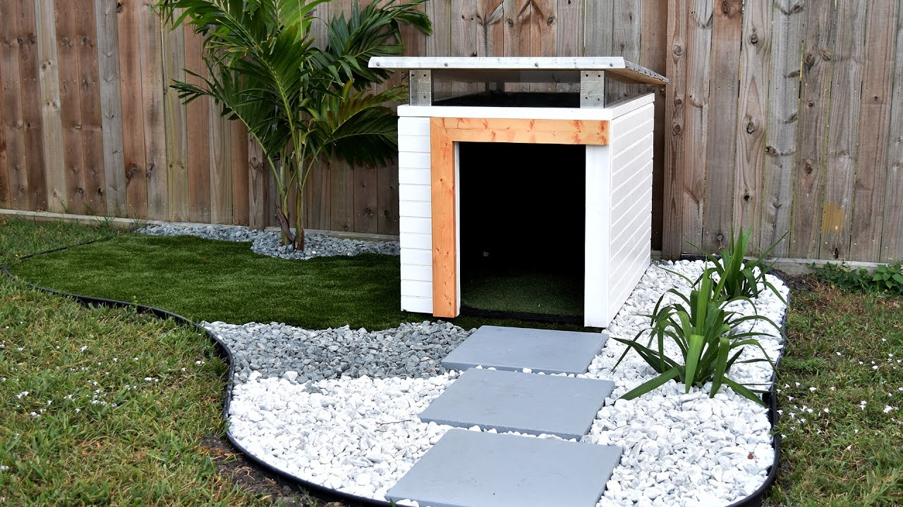 how to make a dog house part 2 dog house landscaping youtube rh youtube com backyard dog house plans backyard pet dog house